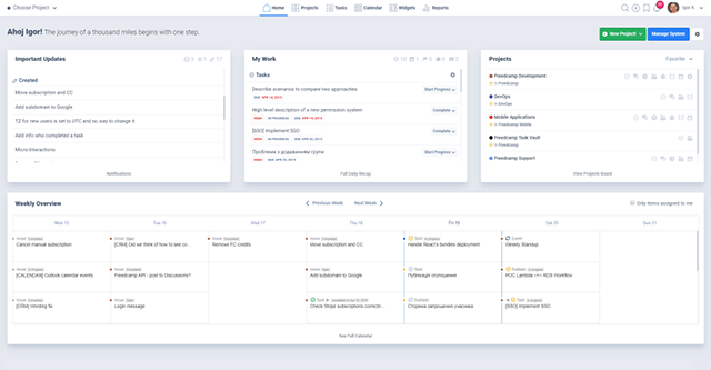 FreedCamp project management app free